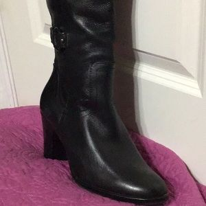 Shoes - Lined Leather Boot Black